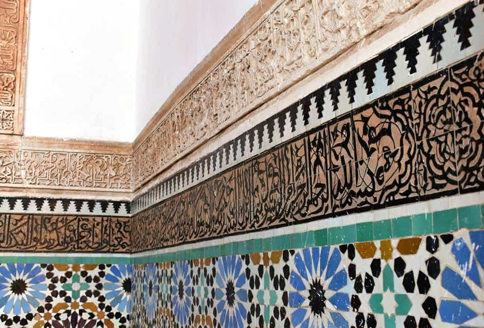 Traditional Moroccan zellij tiles which are found in the Saadian Tombs in Marrakech