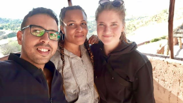 Posing with two German tourists in Ourika Valley on a day trip from Marrakech.